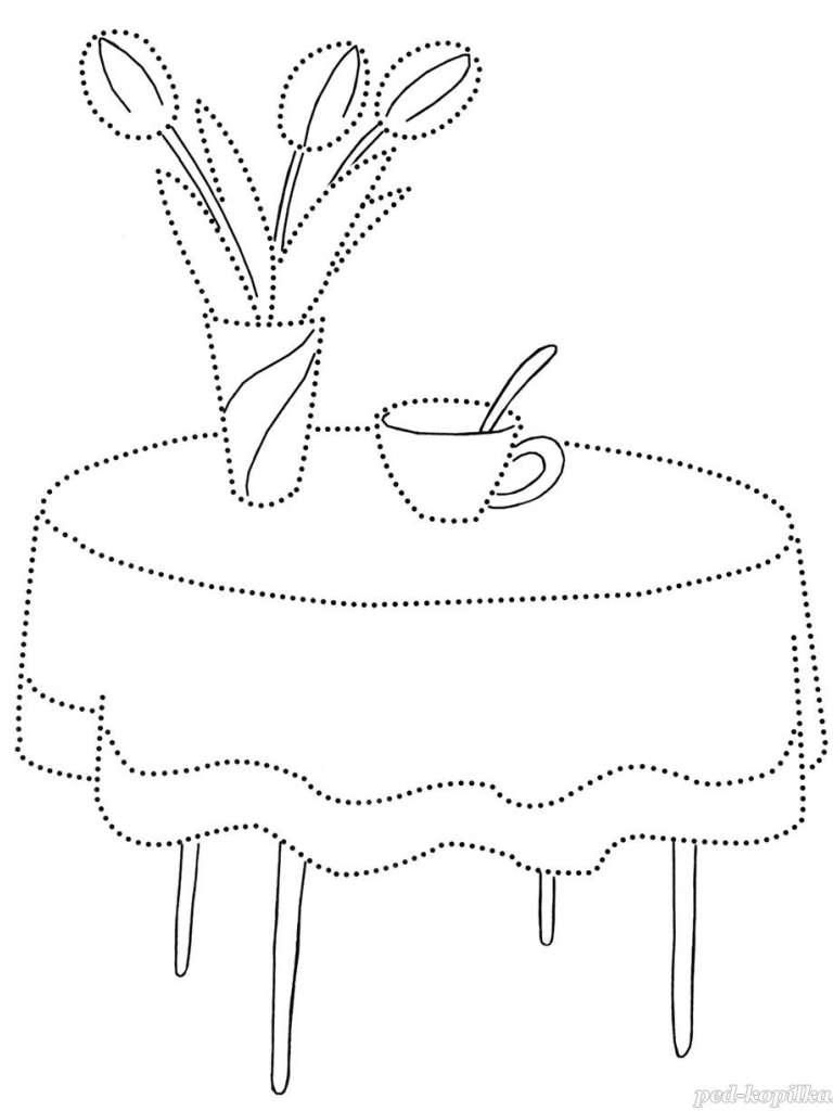 Tranh tô màu bàn trà cho bé