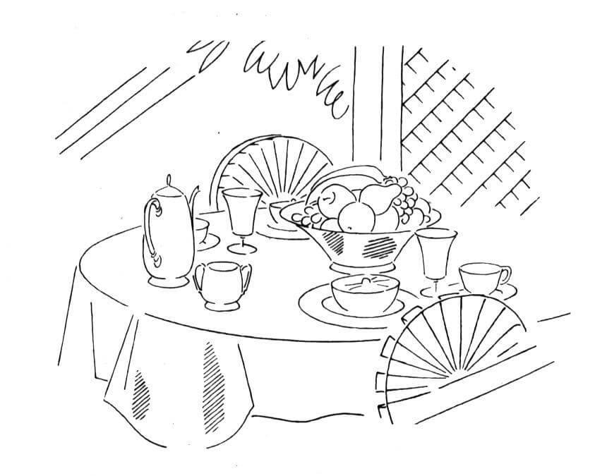 Tranh tô màu bàn trà