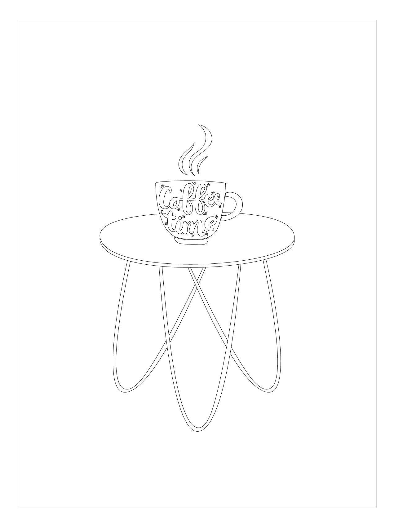 Tranh tô màu bàn uống cà phê