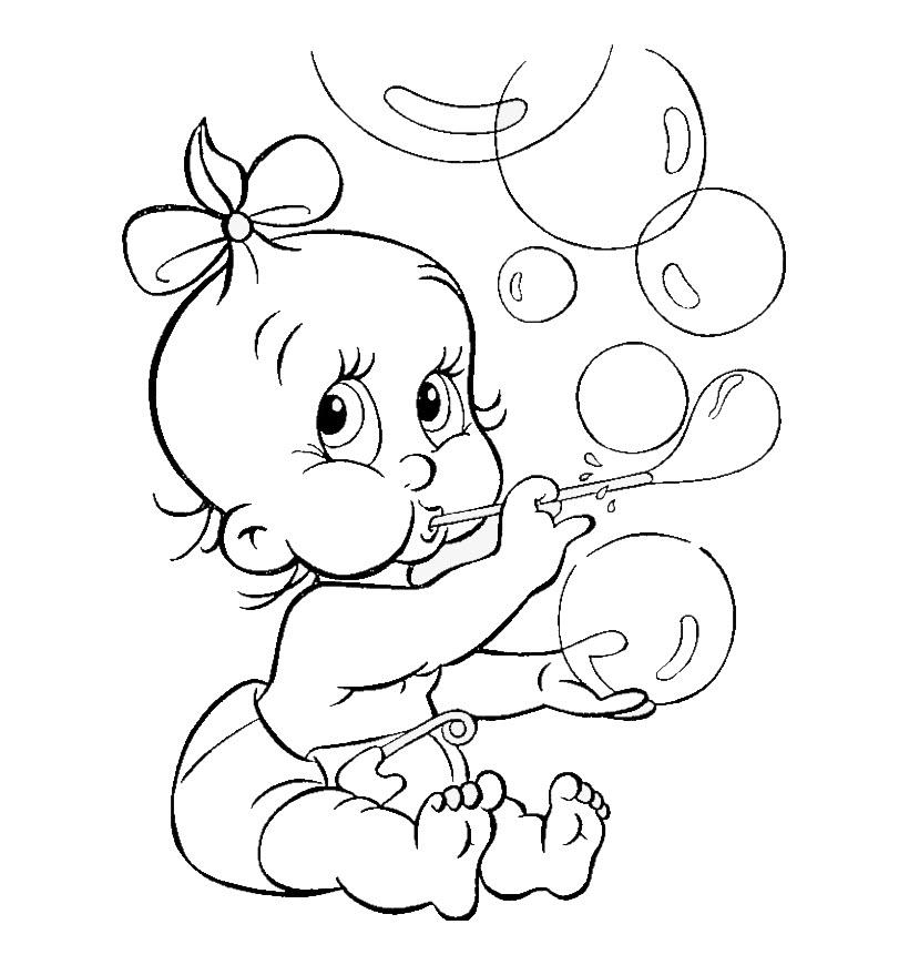 Tranh tô màu bé gái thổi bong bóng