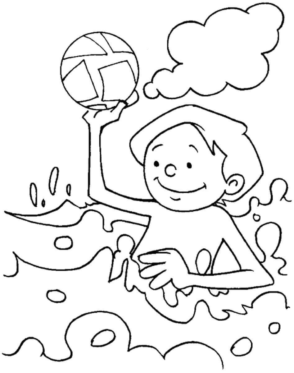 Tranh tô màu bé tắm biển
