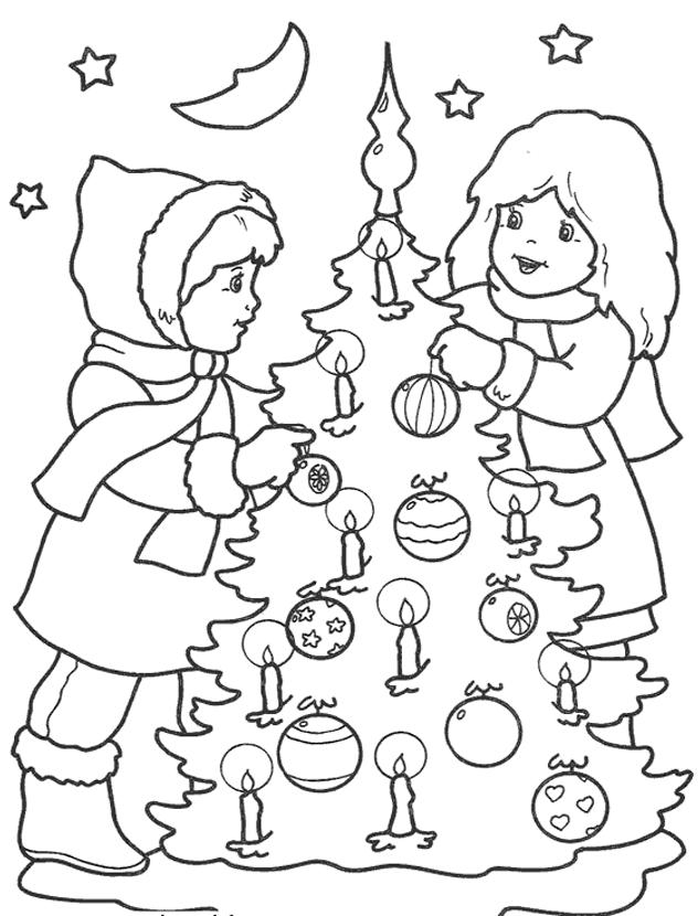 Tranh tô màu bé trang trí cây thông Noel