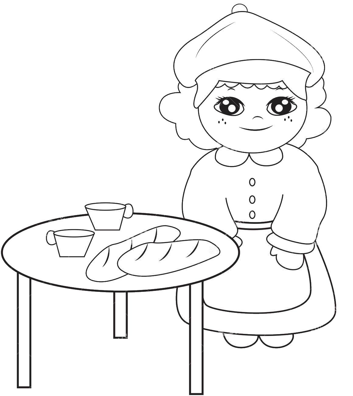 Tranh tô màu bé và cái bàn ăn sáng