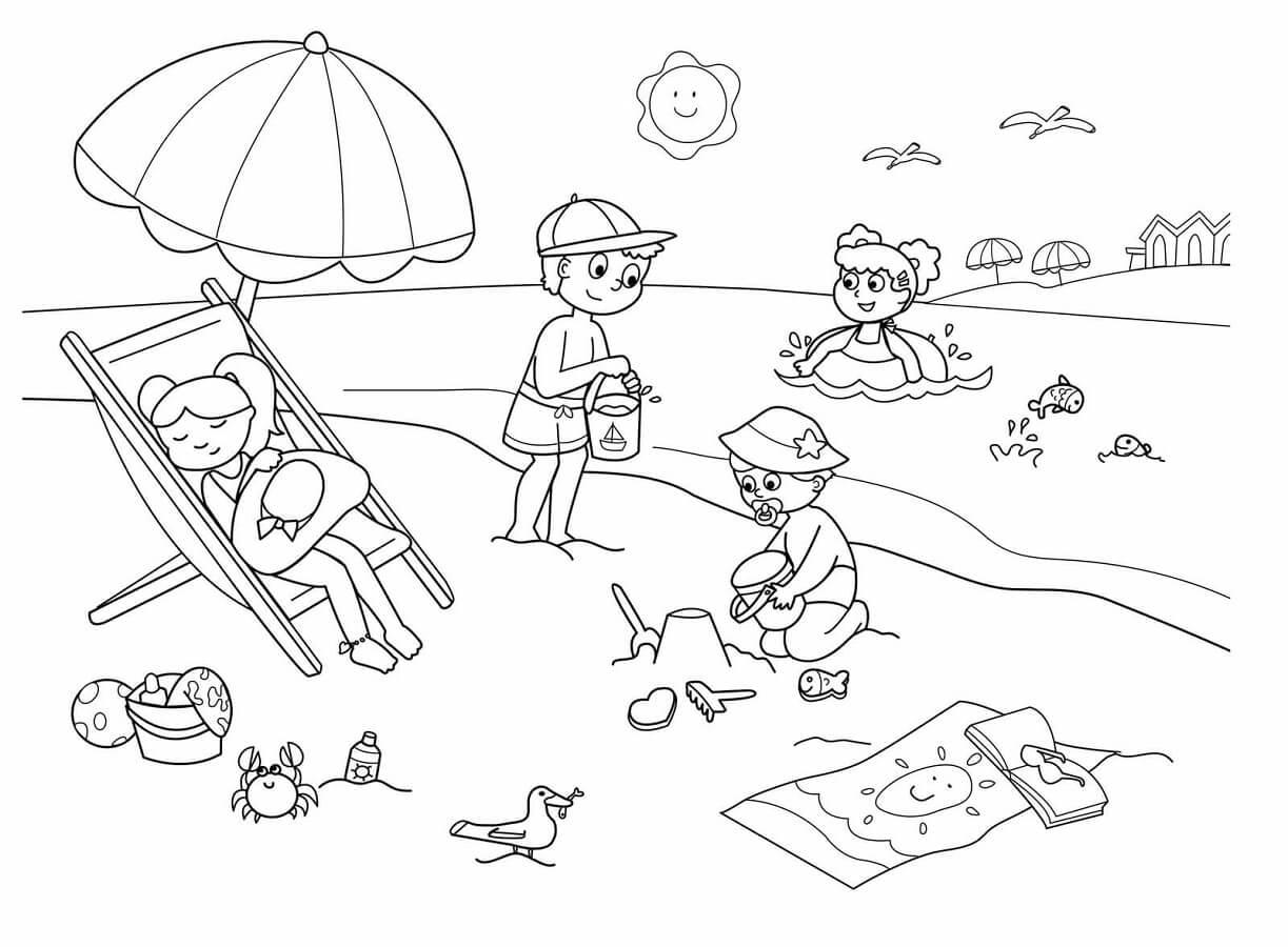 Tranh tô màu bé vui chơi bên bờ biển