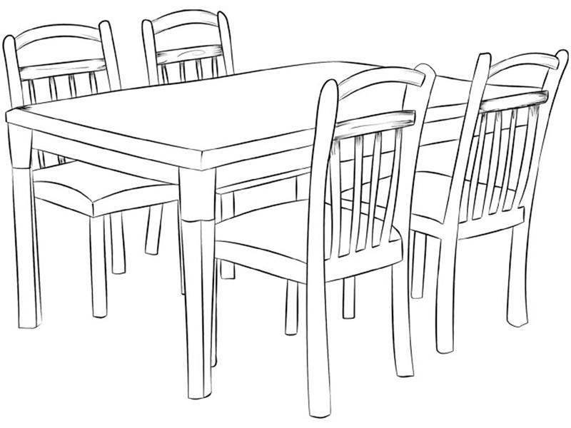 Tranh tô màu bộ bàn ăn cực đẹp