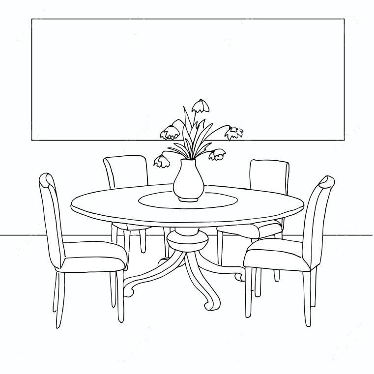 Tranh tô màu bộ bàn ghế