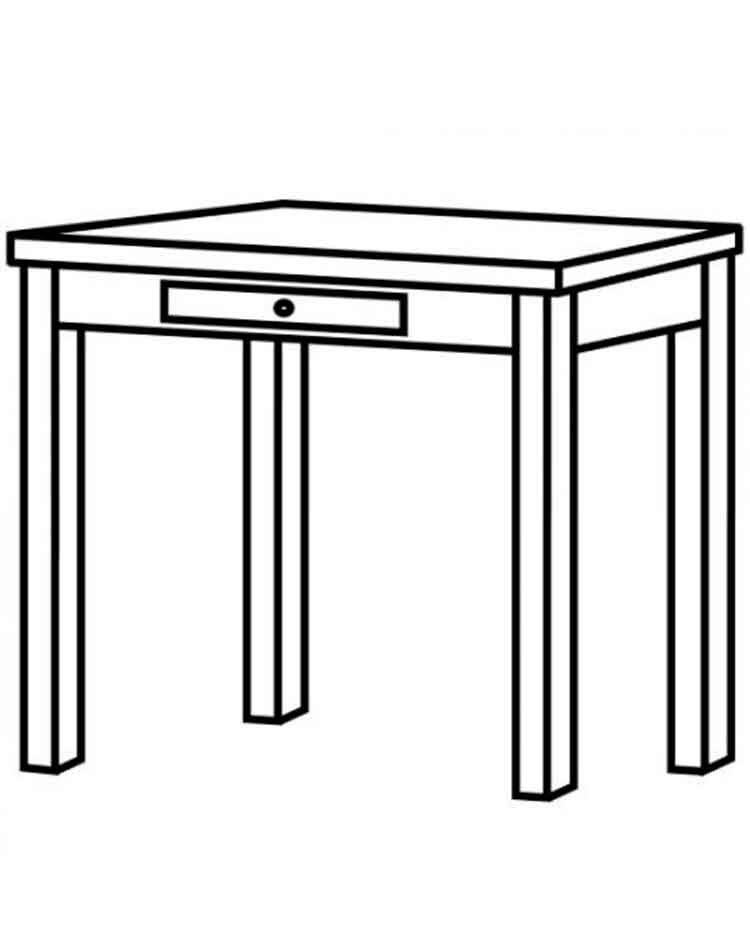 Tranh tô màu cái bàn có ngăn kéo