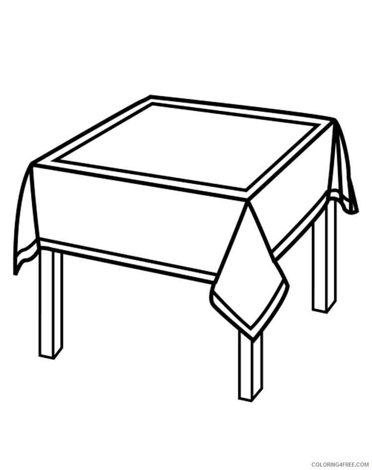 Tranh tô màu cái bàn được phủ khăn