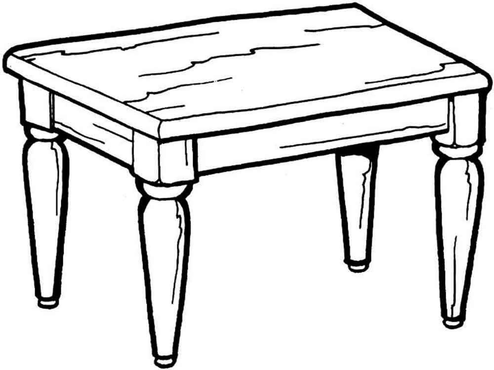 Tranh tô màu cái bàn gỗ