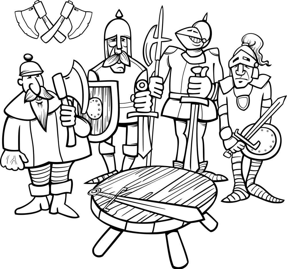 Tranh tô màu cái bàn và hiệp sĩ