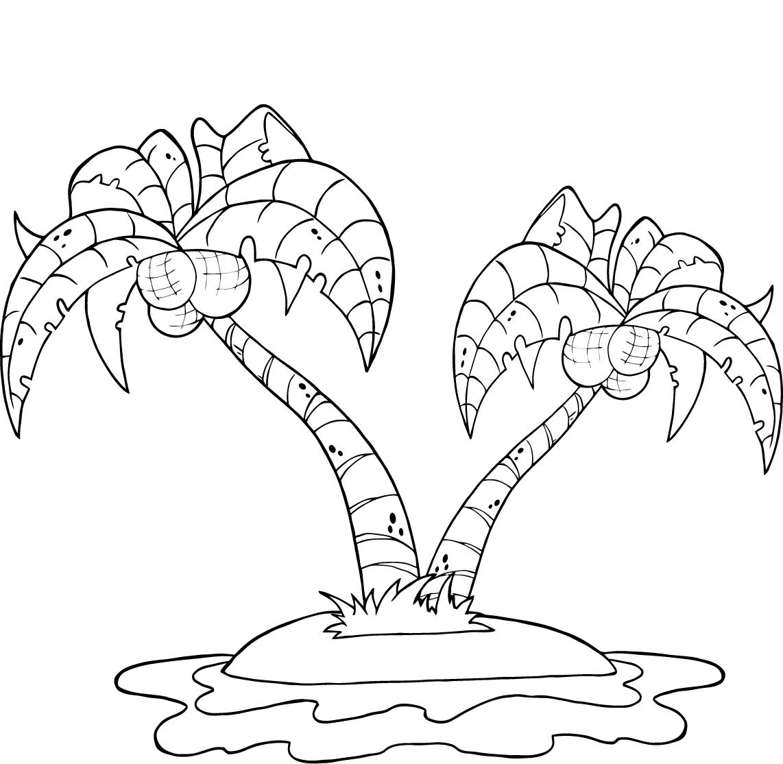 Tranh tô màu cây dừa bãi biển