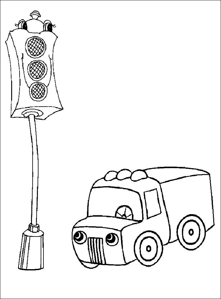 Tranh tô màu cho bé đèn giao thông và chiếc ô tô