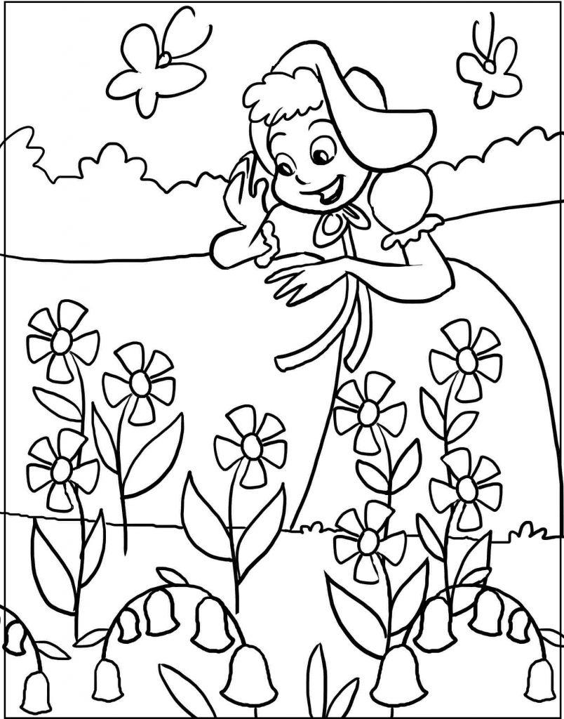 Tranh tô màu cho bé hoa cỏ mùa xuân