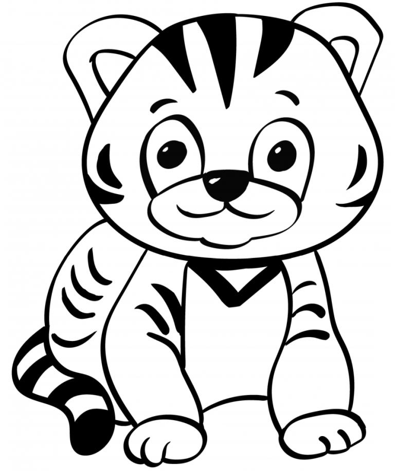 Tranh tô màu chú hổ con