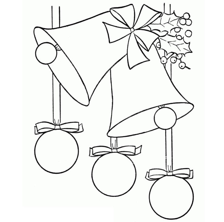 Tranh tô màu chuông giáng sinh cho bé