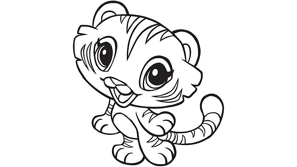 Tranh tô màu con hổ chibi