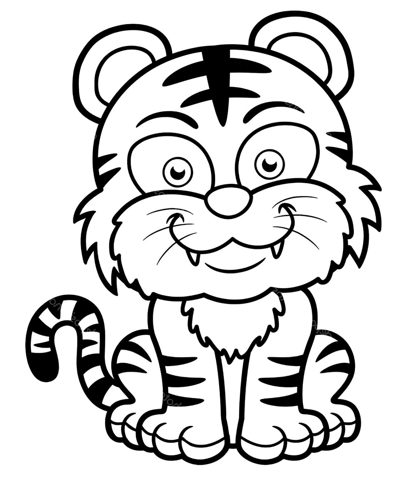 Tranh tô màu con hổ cute