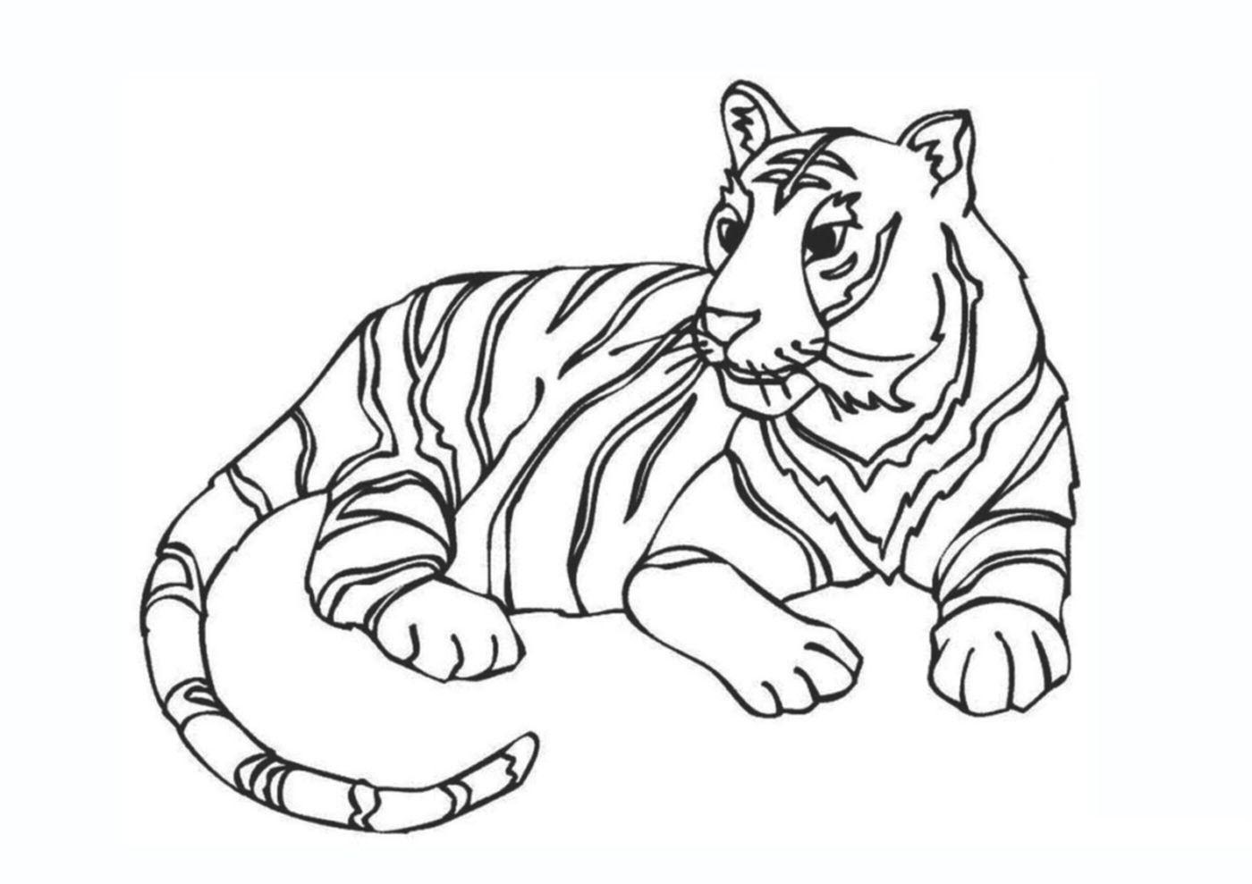 Tranh tô màu con hổ đang nằm