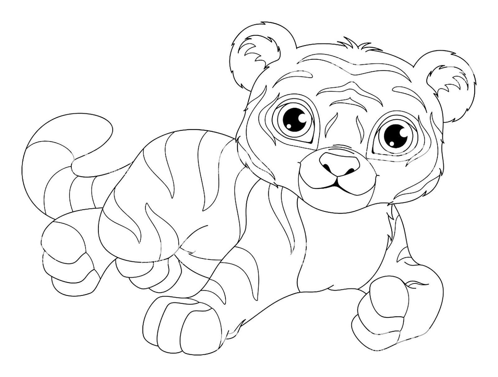 Tranh tô màu con hổ đáng yêu