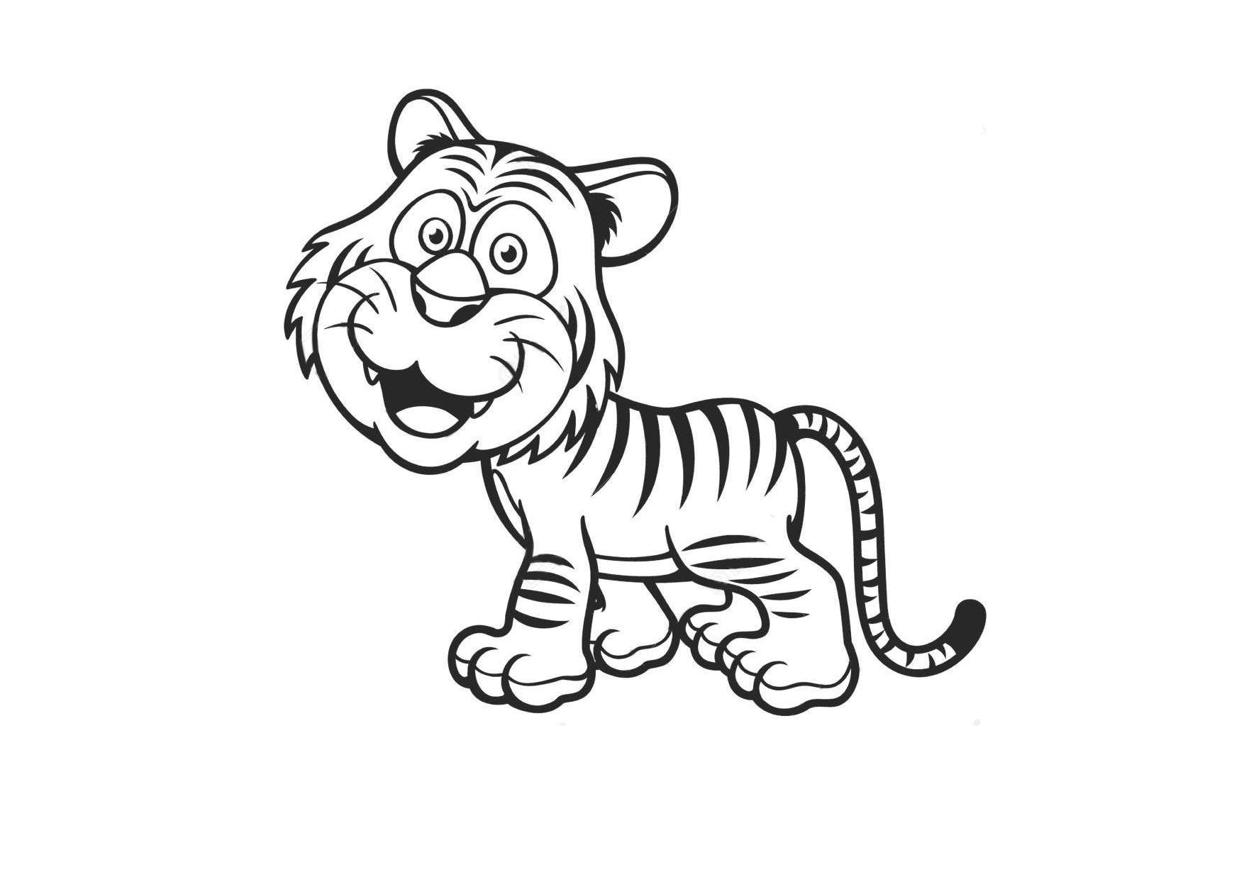 Tranh tô màu con hổ dễ thương