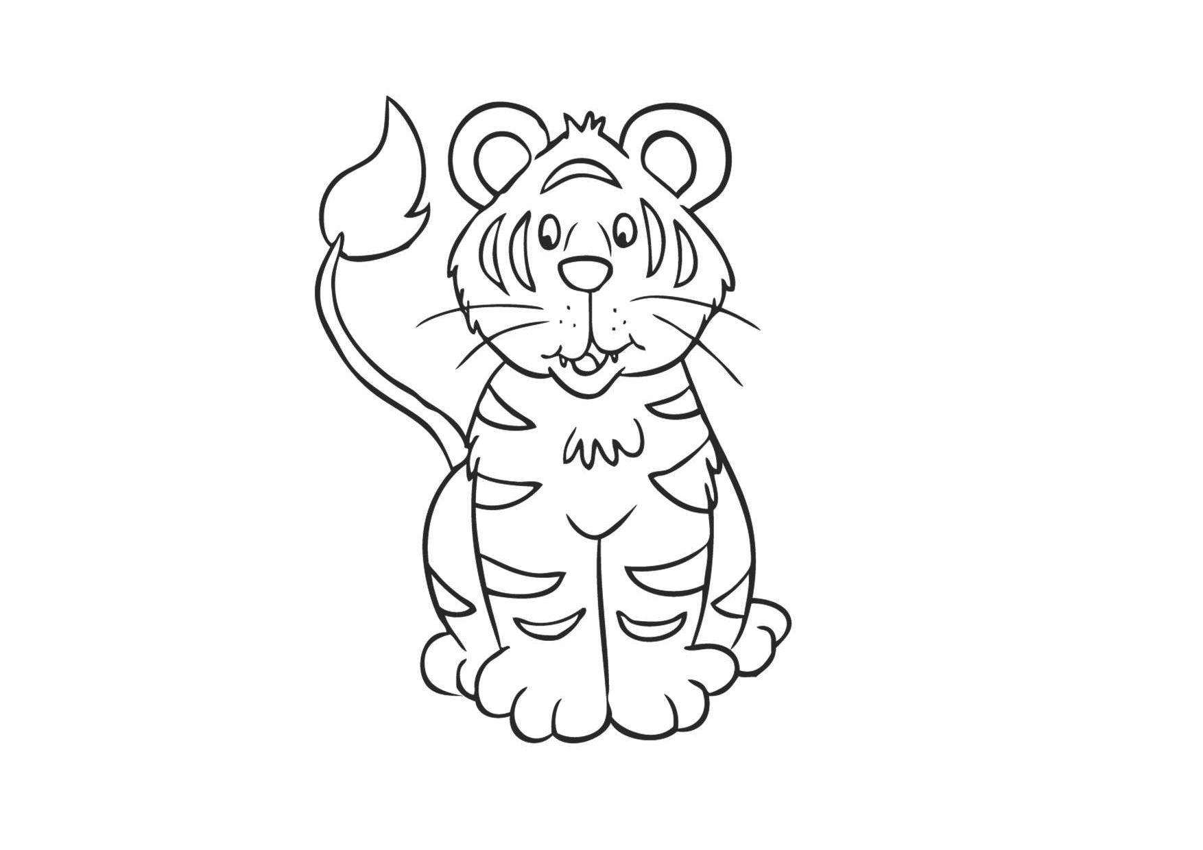 Tranh tô màu con hổ đẹp, đáng yêu