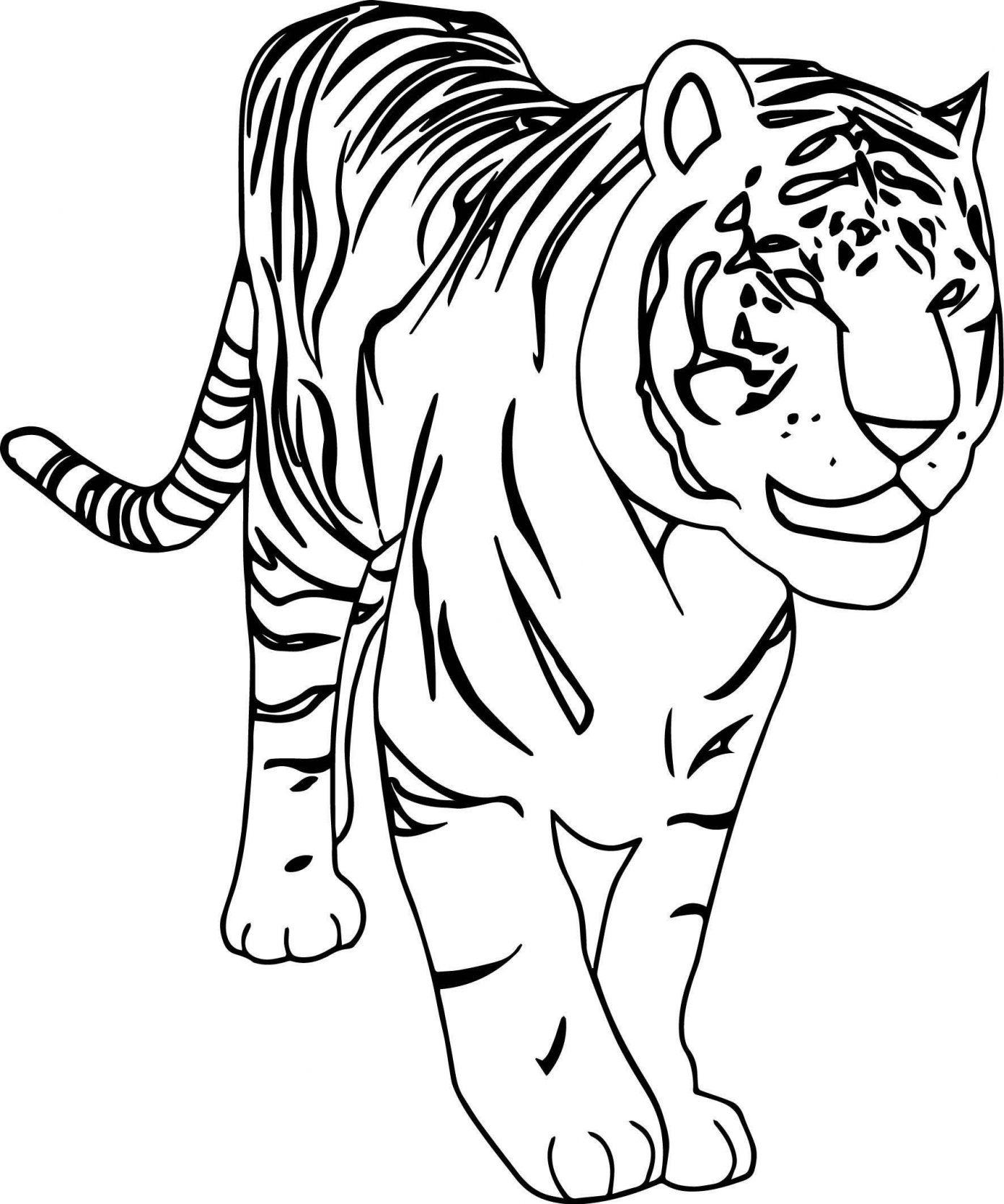 Tranh tô màu con hổ đẹp, đơn giản