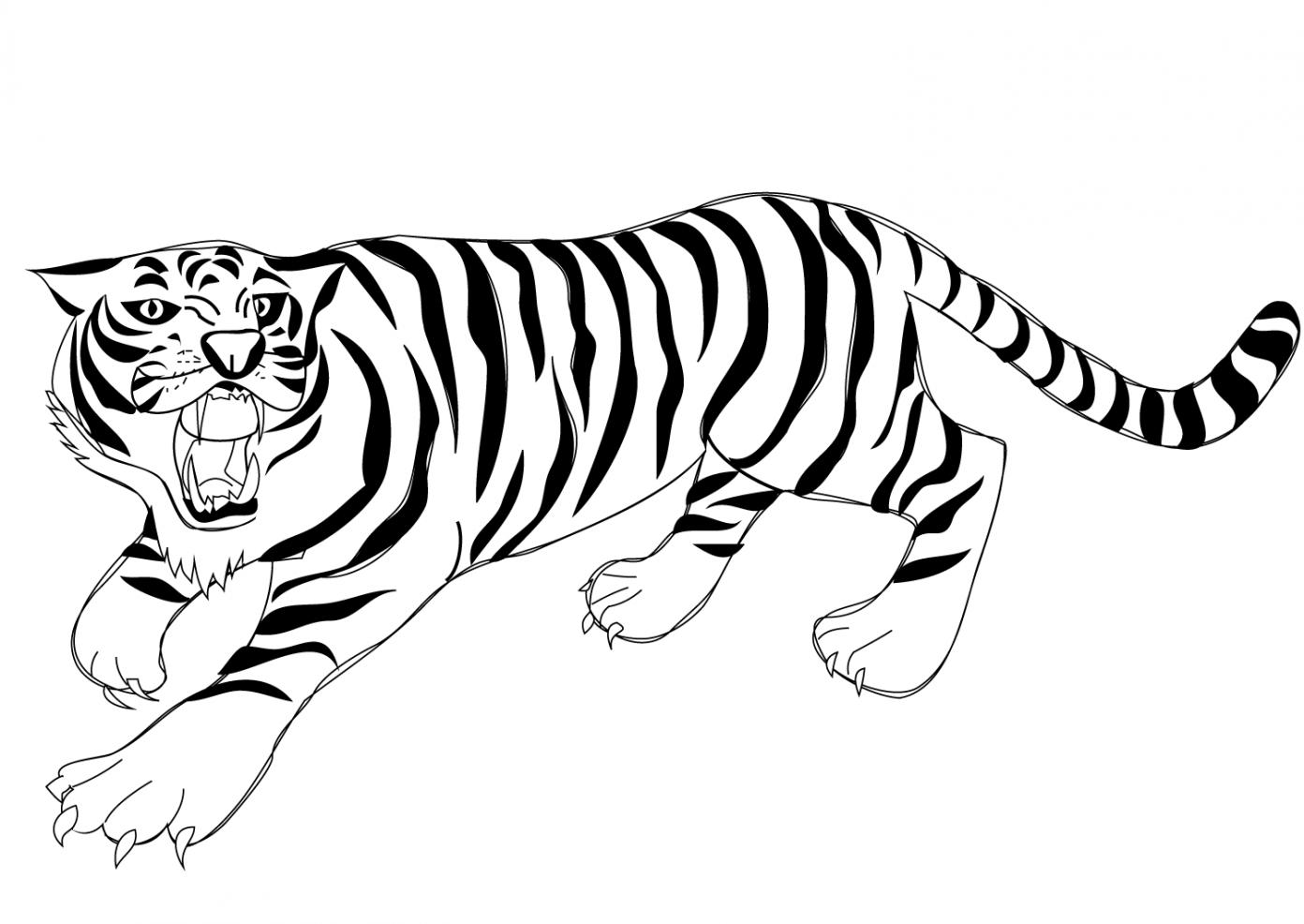 Tranh tô màu con hổ đẹp, dũng mãnh