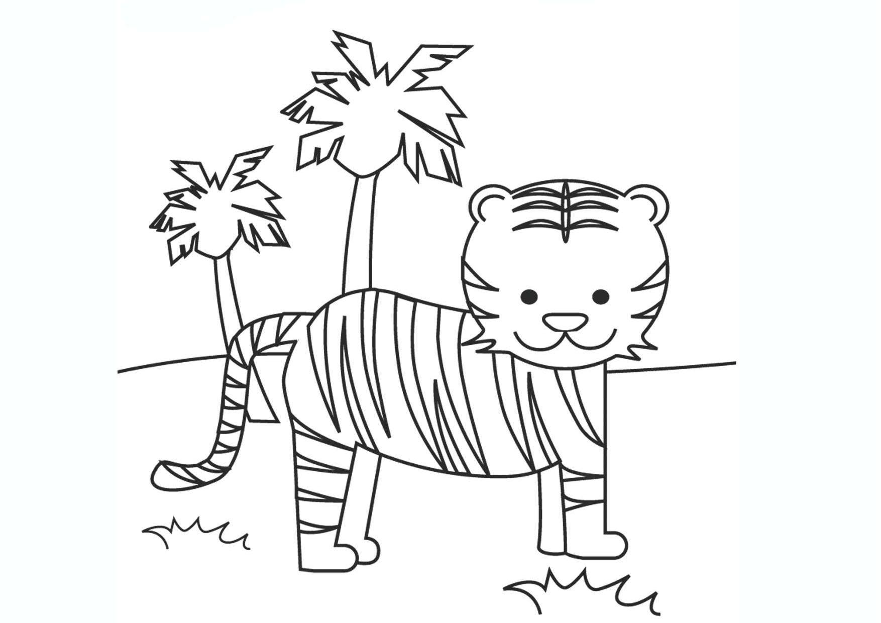 Tranh tô màu con hổ đơn giản