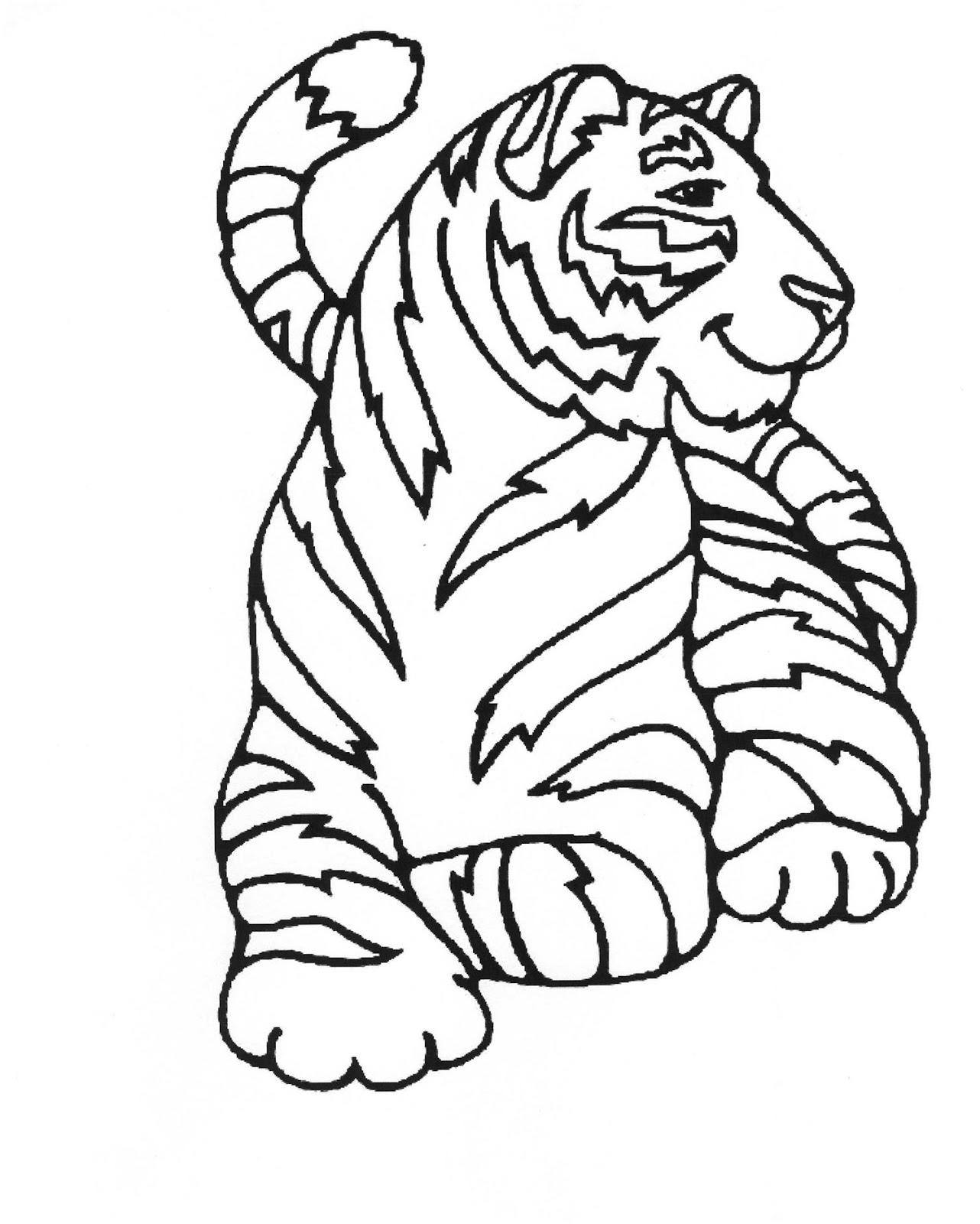 Tranh tô màu con hổ dũng mãnh, đáng yêu
