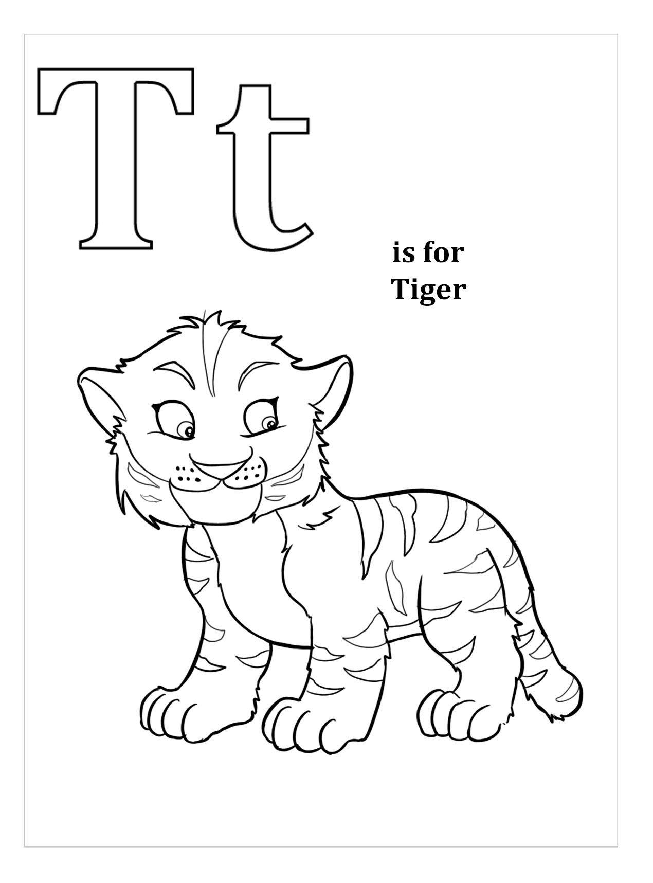 Tranh tô màu con hổ hoạt hình đáng yêu