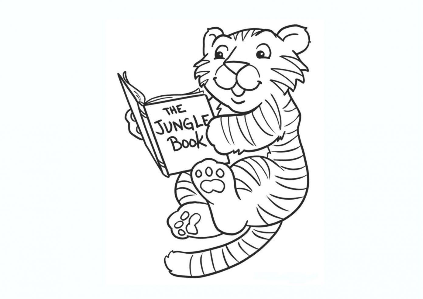 Tranh tô màu con hổ và cuốn sách