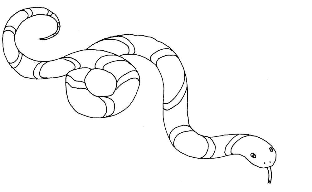 Tranh tô màu con rắn đang bò
