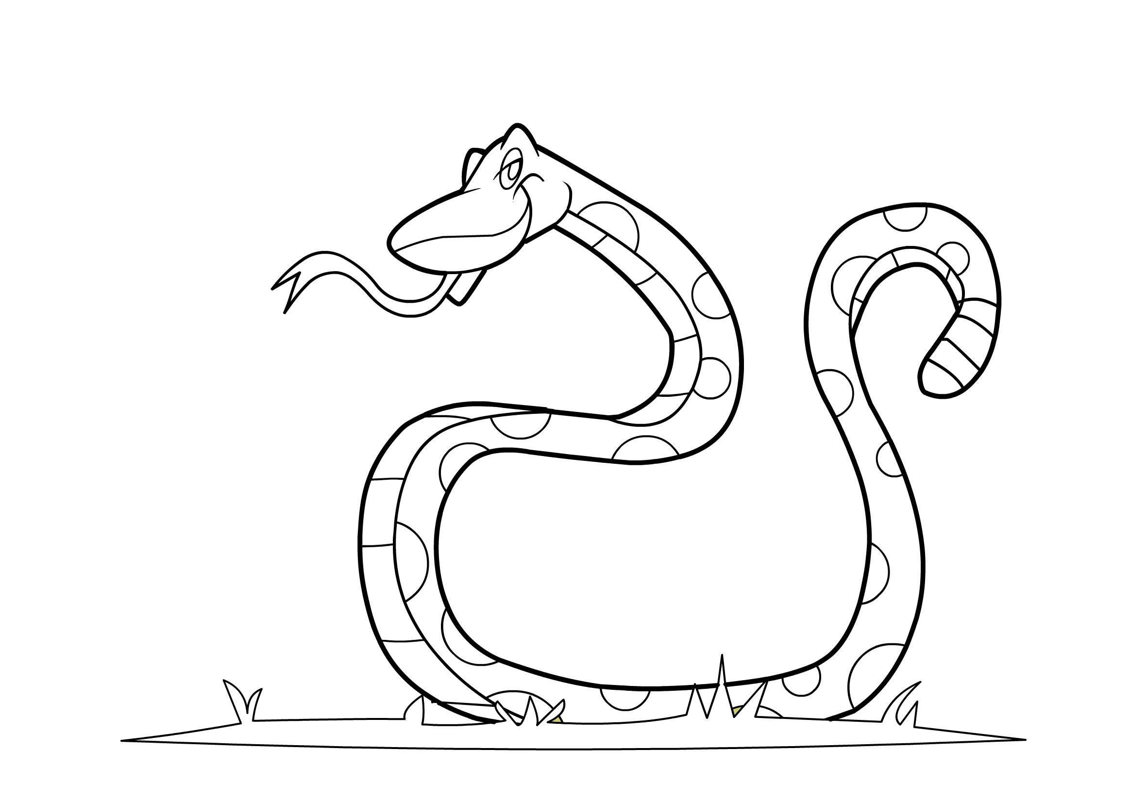 Tranh tô màu con rắn đẹp, đơn giản