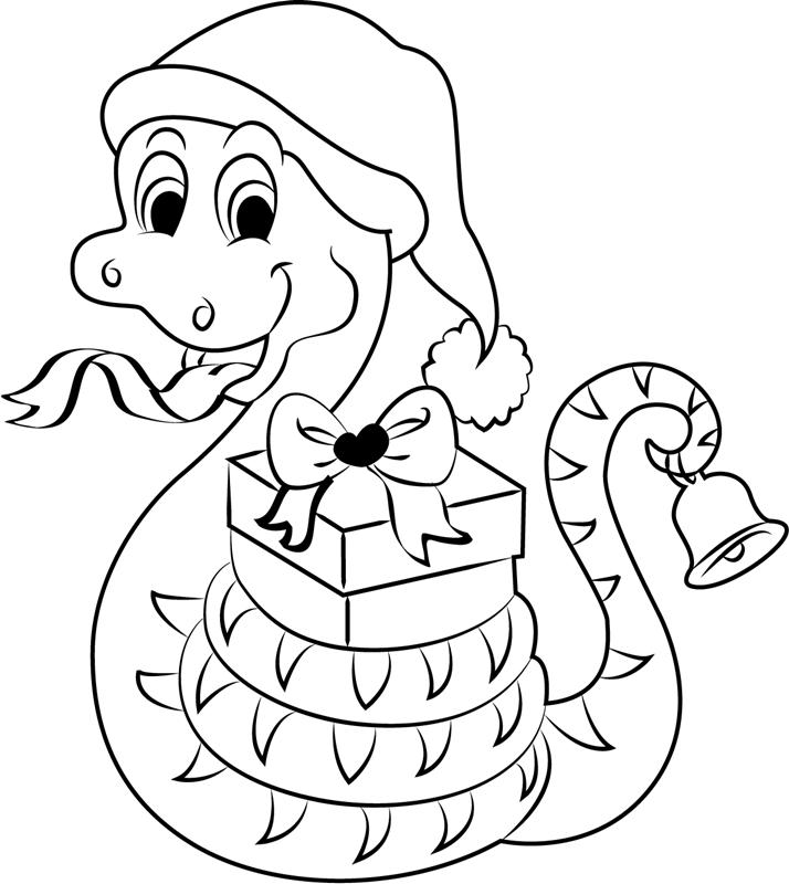 Tranh tô màu con rắn giáng sinh