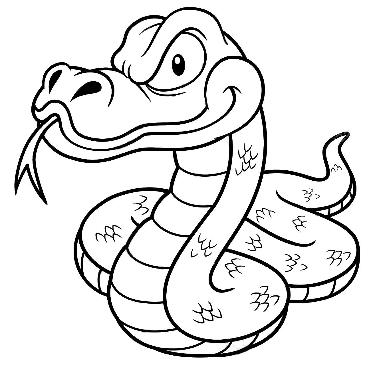 Tranh tô màu con rắn hoạt hình