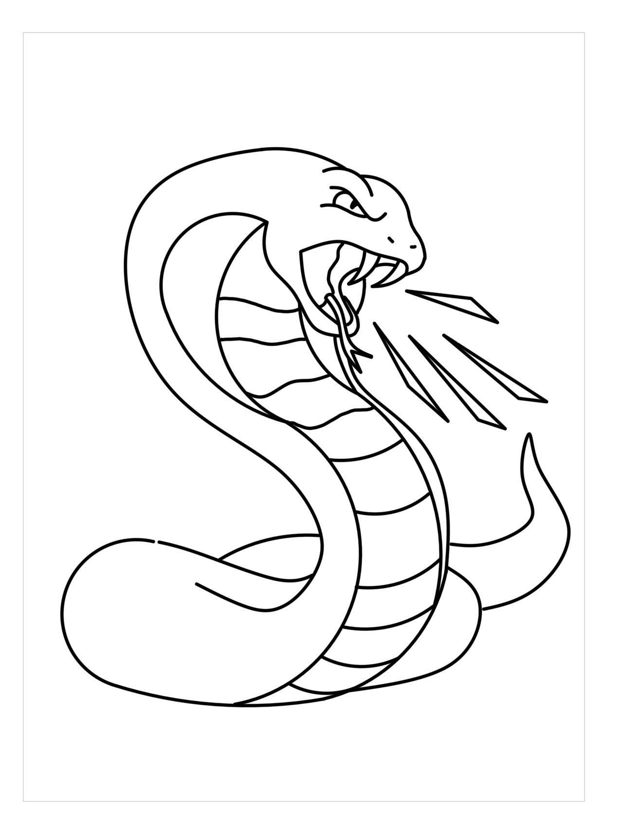 Tranh tô màu con rắn tức giận