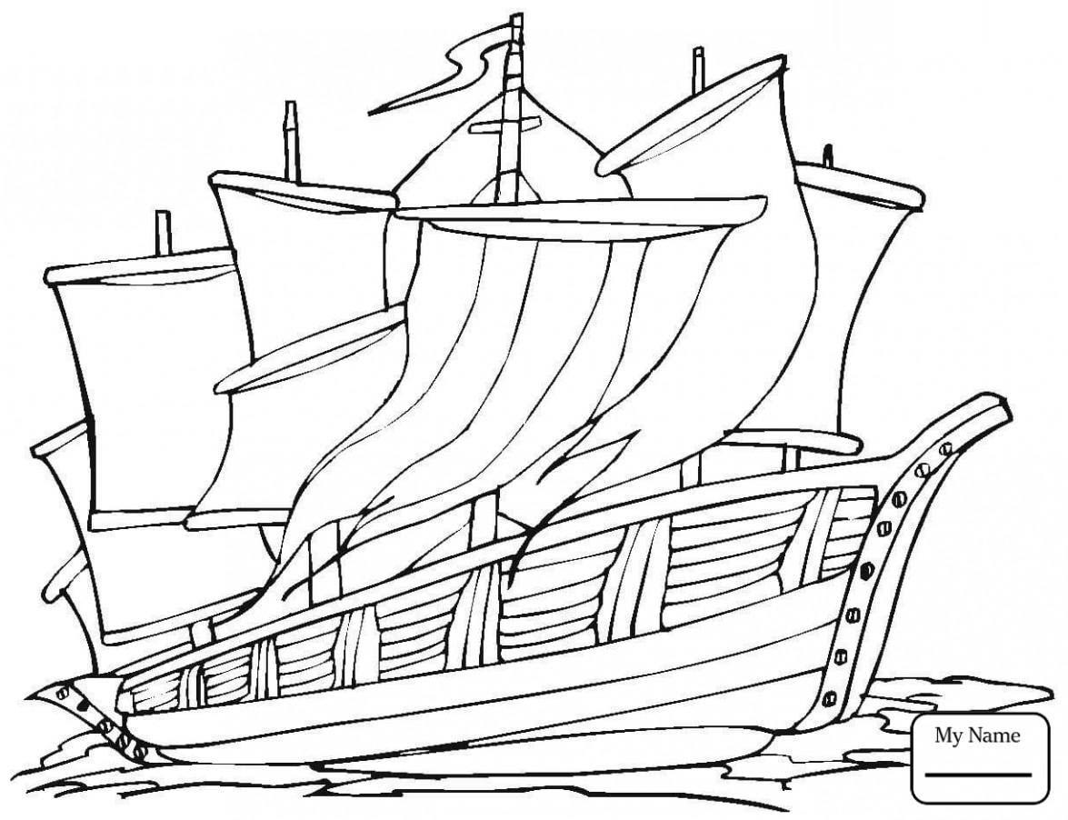 Tranh tô màu con tàu lênh đênh trên biển