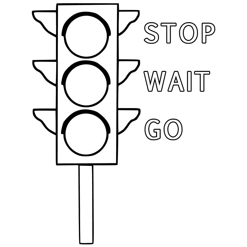 Tranh tô màu cột đèn giao thông