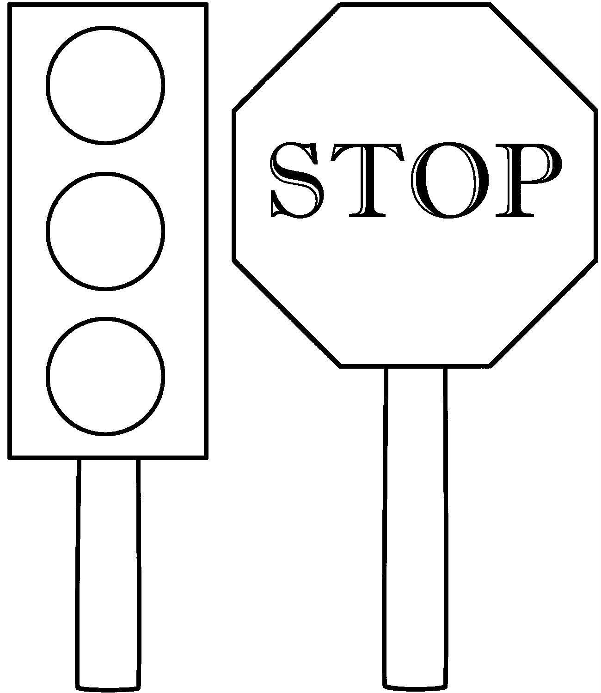 Tranh tô màu cột đèn và biển báo giao thông