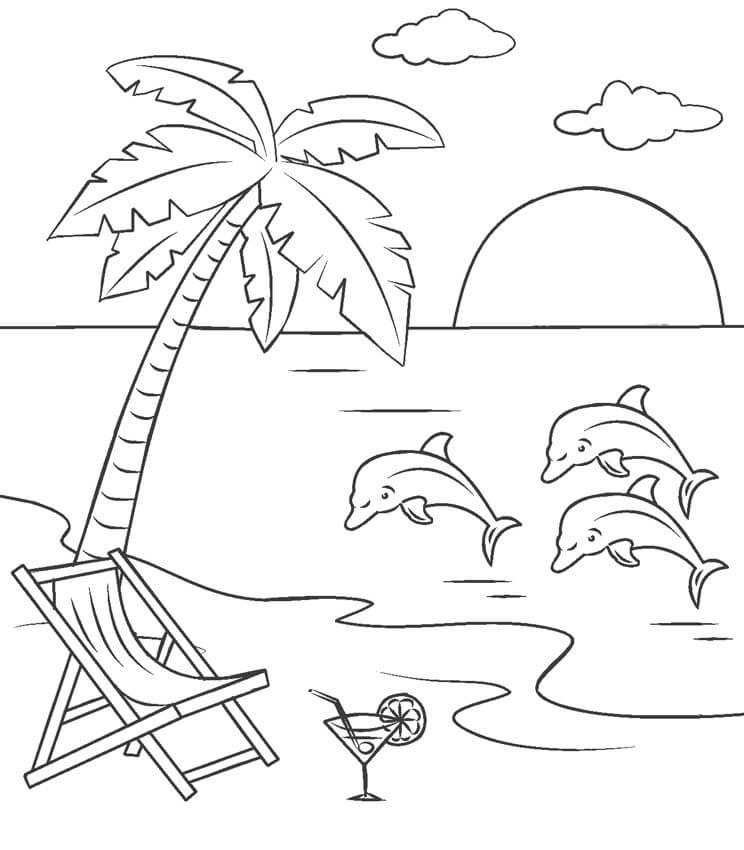 Tranh tô màu đàn cá heo bên bờ biển