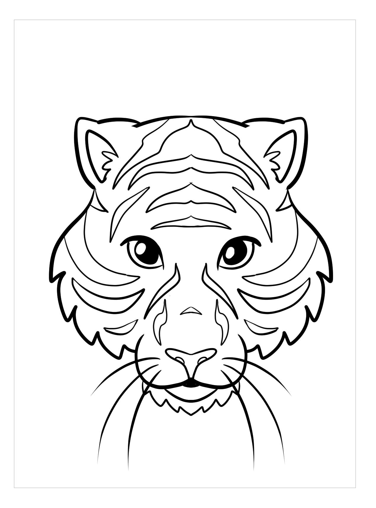 Tranh tô màu đầu con hổ