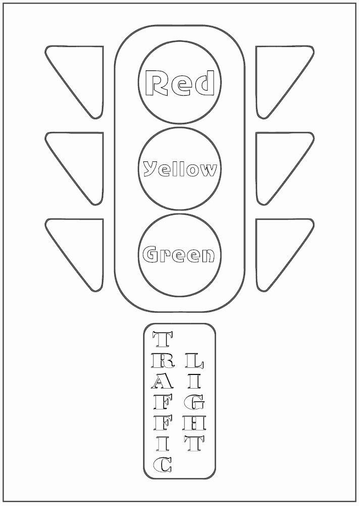 Tranh tô màu đèn giao thông cho bé luyện tô