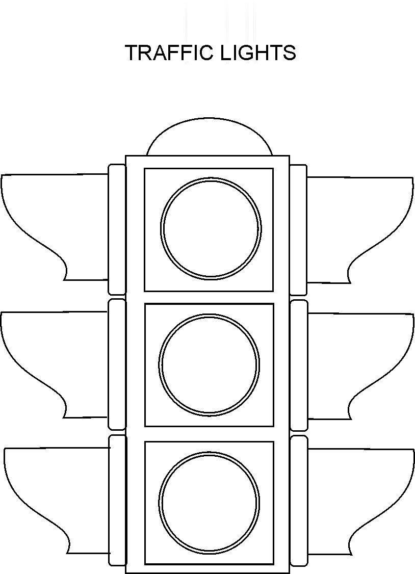 Tranh tô màu đèn giao thông đẹp, đơn giản
