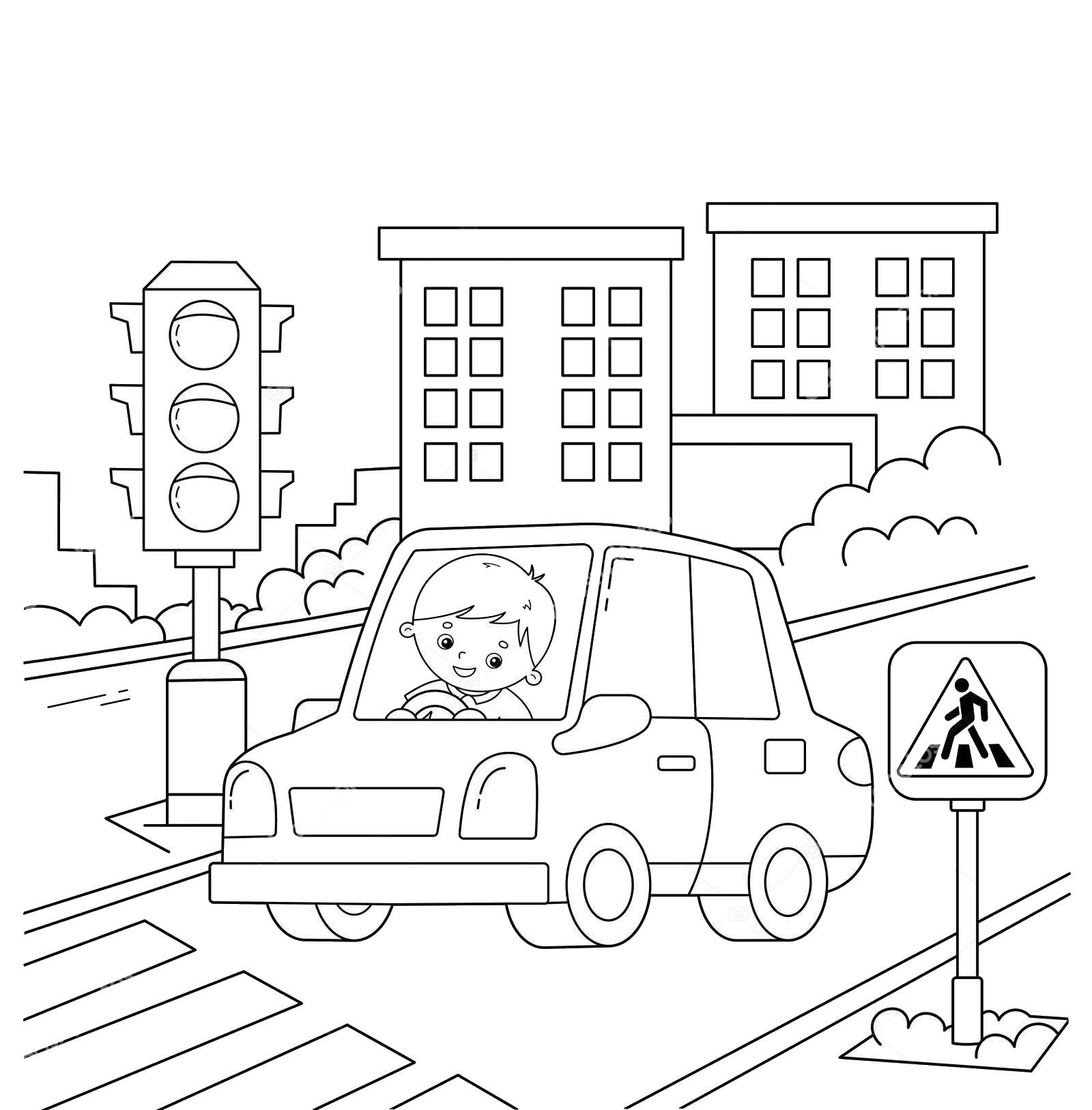 Tranh tô màu đèn giao thông đẹp tuyệt