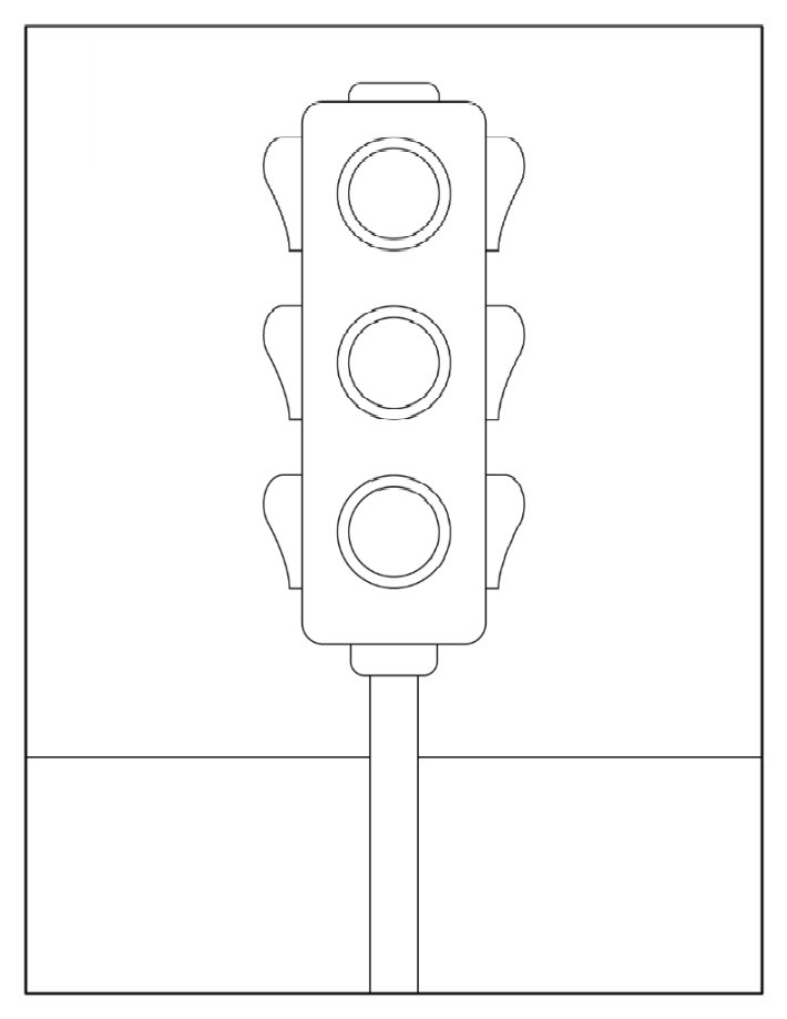 Tranh tô màu đèn giao thông đơn giản cực đẹp