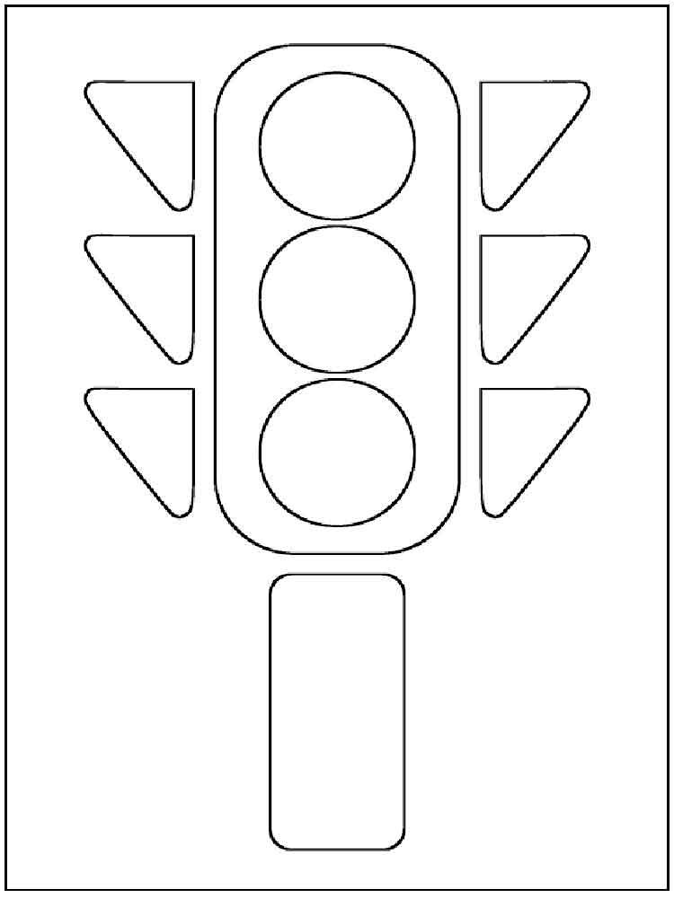 Tranh tô màu đèn giao thông hình khối đơn giản