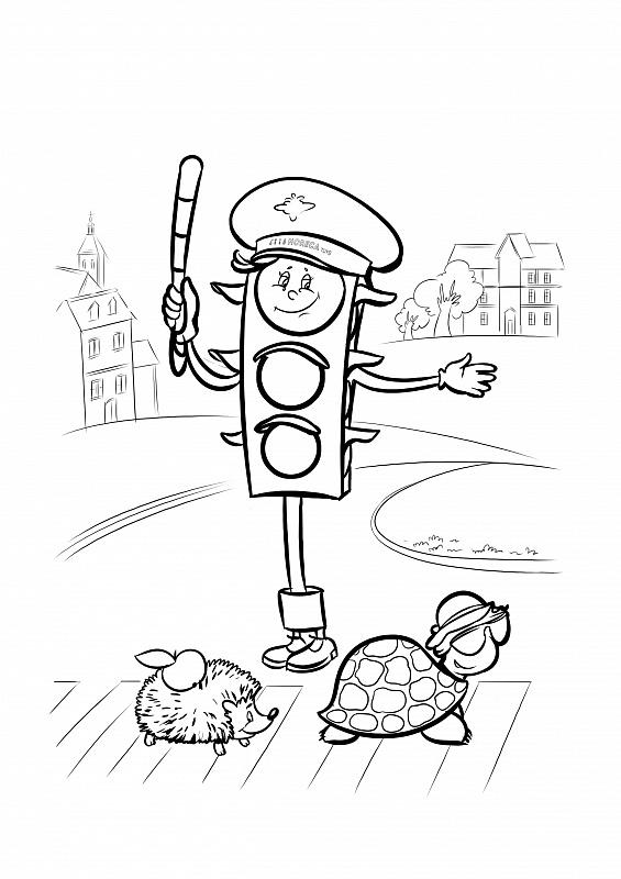 Tranh tô màu đèn giao thông hoạt hình cute