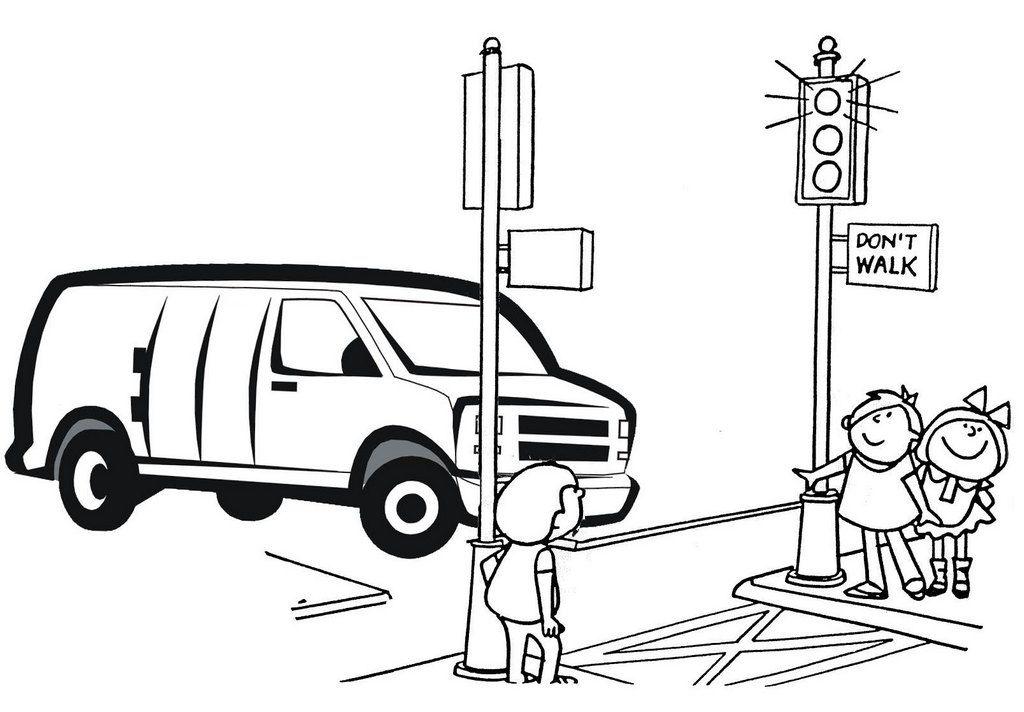 Tranh tô màu đèn giao thông tại ngã tư
