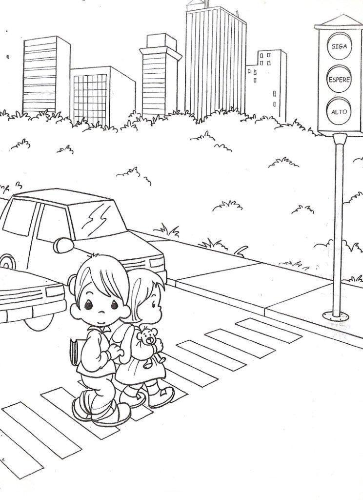 Tranh tô màu đèn giao thông trên đường phố