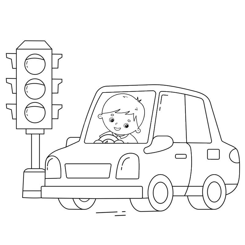 Tranh tô màu đèn giao thông và chiếc ô tô